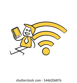 businessman sitting next to wifi and mobile phone yellow stick figure doodle theme