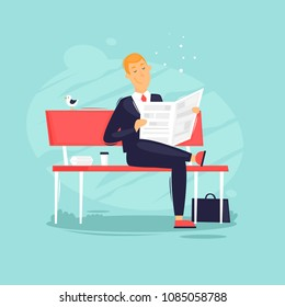 Businessman sitting on a bench in the park, lunch. Flat design vector illustration.