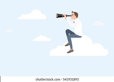 Businessman sitting on a cloud using telescope looking for success. Businessman gets a better view on the ladder.