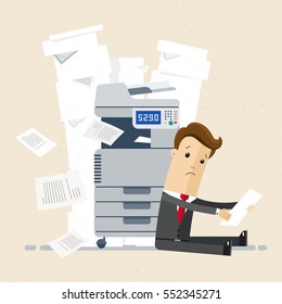 Businessman sitting on floor near printer in office. Businessman with a lot of printing document, paper. A lot of paperwork concept. Vector, illustration, flat