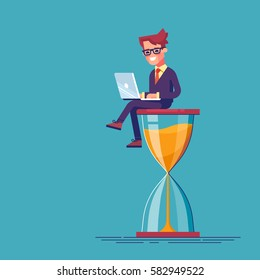 Businessman sitting on the hourglass with laptop legs crossed. Business concept of time management and procrastination. Vector illustration.