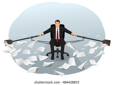 Businessman is sitting on the office chair and rowing through the paper waves. Bureaucracy and paperwork. Overworking and routine.