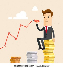 Businessman sitting on pile of coins and hand drawing a positive trend graph. Business and finance concept. Vector, illustration, flat