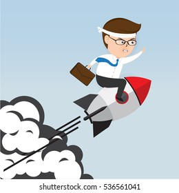 A businessman Sitting on a rocket, Businessman silhouette, Business Concept vector 10