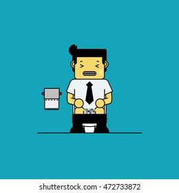 Businessman sitting on toilet,