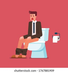 Businessman sitting on toilet bowl and suffering from diarrhea. Flat style. Vector illustration