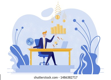 Businessman Sitting at Table and Count Cash Flat Cartoon Vector Illustration. Success and Finance Concept. Office Worker with Laptop. Time is Money. Character Holding Clock. Ideas.