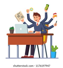 Businessman sitting at the table and doing many things at once. Modern flat style illustration. Decoration for greeting cards, posters, patches, prints for clothes, emblems.