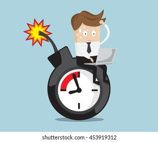 businessman sitting working on time bomb near deadline, business concept vector illustration