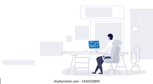 businessman sitting at workplace analyzing financial graph business man working with data on computer monitor statistics report concept modern office interior sketch horizontal