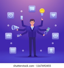 Businessman with six hands holding multiple things at the same time. Multitasking, efficient business worker concept. Colorful design vector illustration