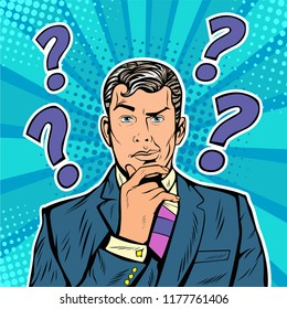 Businessman skeptical facial expressions face with question marks upon his head. Pop art retro vector illustration in comic style