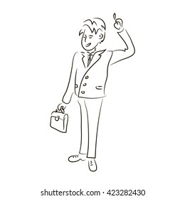 businessman sketch, Businessman doodle vector