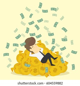 A businessman sleeping on a bag of money, billionaires. vector