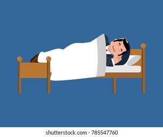 Businessman sleeping on bed. business men sleep under blanket. vector illustration