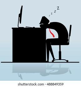 Businessman sleeping on desk, Business Concept, vector