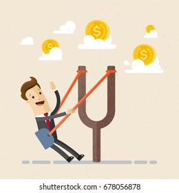 Businessman in a slingshot ready to launch to target.  Business and finance concept. Vector, illustration, flat