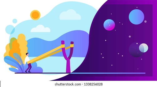 Businessman in a slingshot, Startup concept. Banner template. Business vector illustration, flat style.