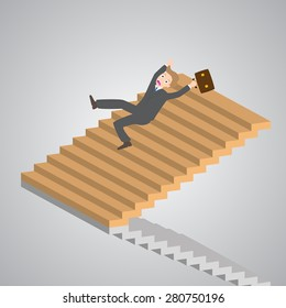 businessman slipping down on the stairs, vector, illustration.