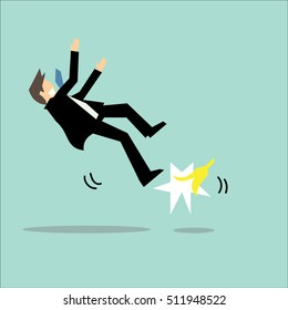 Businessman slipping and falling from a banana peel. Concept of fail, mistake,risk,accident,insurance-vector cartoon