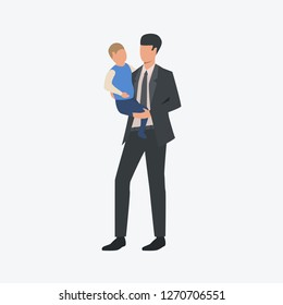 Businessman with small child. Single father, man, son. Can be used for topics like parenthood, career, family
