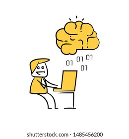 businessman and smart brain icon for artificial intelligence concept yellow stick figure