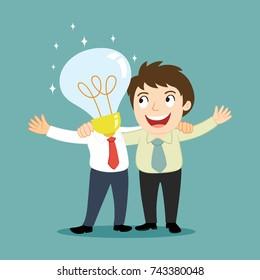 Businessman with smart friends, illustration vector cartoon