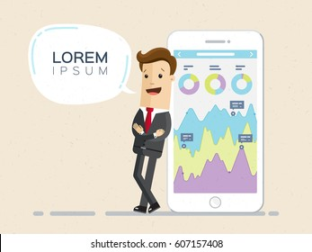 Businessman and smartphone with infographic on the screen. Lorem ipsum. Vector, flat