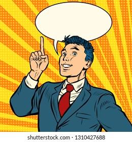 businessman smile index finger up gesture. Pop art retro vector illustration vintage kitsch