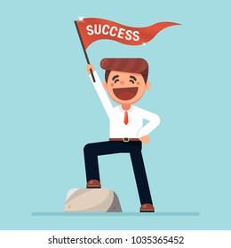 Businessman smile and waving flag success cartoon, success concept.