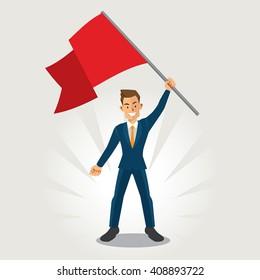 Businessman smile and waving flag success cartoon