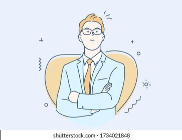 Businessman smiling and confident. Concept of leadership. Hand drawn in thin line style, vector illustrations.