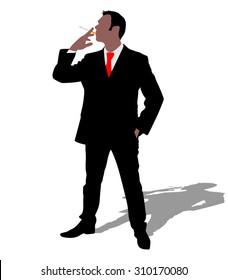 businessman smoking cigarette, vector