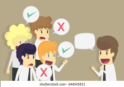 Businessman speaker business concept like dislike hands. Good or bad speech. The response from the audience. VECTOR