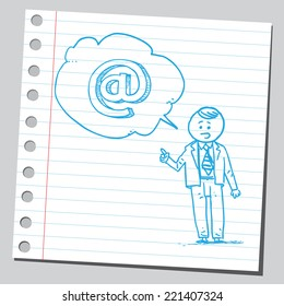 Businessman speaking e-mail sign