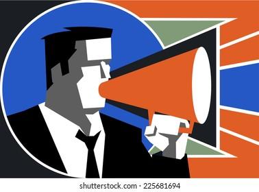 Businessman speaking on megaphone, vector illustration cartoon.