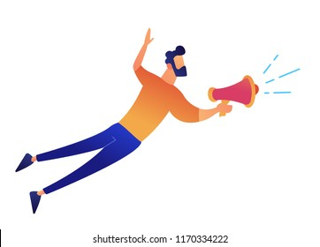Businessman speaking or shouting into loudspeaker vector illustration. Announcement and message, good news and sales, public attention and leadership concept. Isolated on white background.