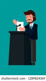 Businessman speaks to the public.  Vector illustration, flat design drawing. Vector illustration, flat design drawing.