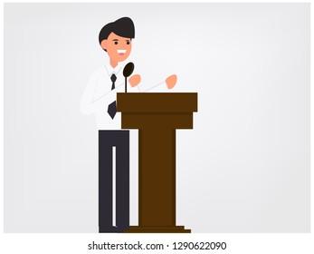 Businessman speaks to the public. Vector illustration, flat design drawing.