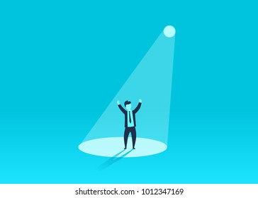 Businessman in spotlight. Human resource recruitment. Person success, employee and career. Vector illustration
