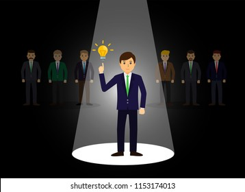 Businessman in spotlight isolated on background, Find a job
