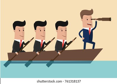 Businessman with spyglass lead business team sailing on boat in the ocean. Vector Illustration