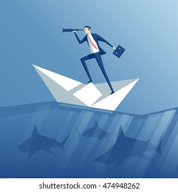 businessman with a spyglass on a paper boat floating in the sea with sharks, business concept risk and search for opportunities