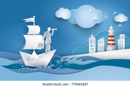 Businessman with spyglass on white sailing boat  in the ocean, Solution and business concept, Creative idea, Future success. Paper art vector and illustration