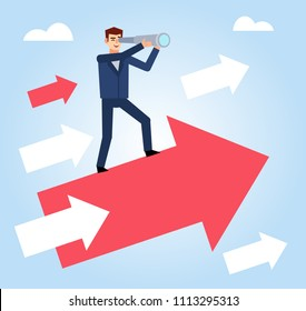 Businessman with spyglass stands on flying growth arrow. Set business direction concept. Flat design vector illustration