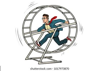 businessman in a squirrel wheel. Pop art retro comic book vector illustration