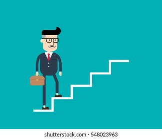 Businessman up the stairs of success, Business concept, Flat style vector illustration EPS 10.