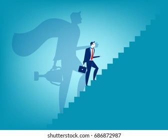 Businessman and stairway to success. Concept business vector illustration.