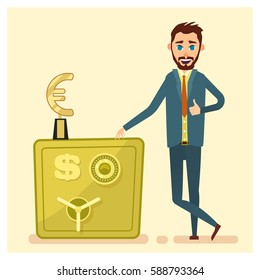 Businessman stand near the bank safe.Vector concept of safe savings money