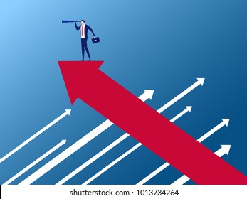 Businessman stand on arrow growth graph on the opposite direction using telescope looking for success, opportunities, future business trends. Vision concept. Cartoon Vector Illustration.
